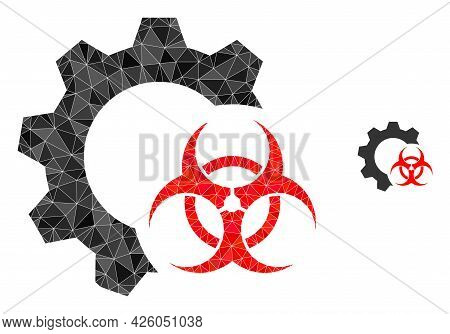 Triangle Biohazard Industry Polygonal Symbol Illustration. Biohazard Industry Lowpoly Icon Is Filled
