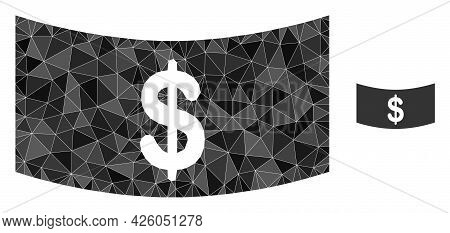 Triangle Dollar Banknote Polygonal Icon Illustration. Dollar Banknote Lowpoly Icon Is Filled With Tr