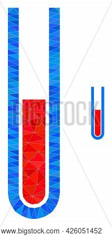 Triangle Blood Test Tube Polygonal Icon Illustration. Blood Test Tube Lowpoly Icon Is Filled With Tr