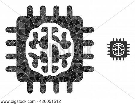 Triangle Brain Chip Polygonal Symbol Illustration. Brain Chip Lowpoly Icon Is Filled With Triangles.