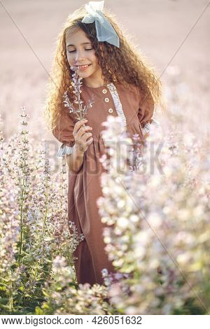Girl In A Field With Flowers. Summer Evening, Little Girl Close-up In Nature. High Quality Photo