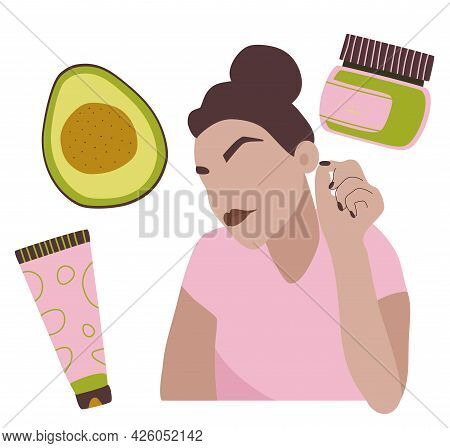 Homemade Cosmetic From Avocado.make Up,organic Face Mask.natural Skin Care.young Woman Loves Herself