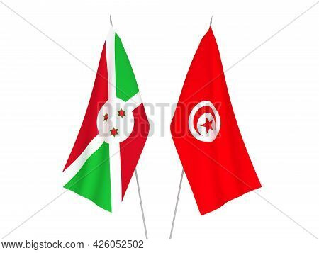 National Fabric Flags Of Burundi And Republic Of Tunisia Isolated On White Background. 3d Rendering