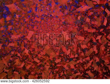 Abstract Color Dynamic Background With Lighting Effect. Fractal Wavy. Fractal Art