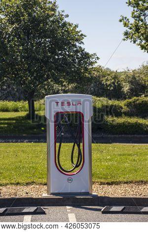 Grantham, Uk - May 30th 2021: Tesla Super Charging Station.