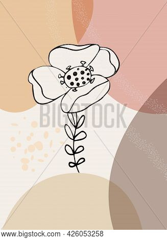 Abstract Pattern, Organic Simple Shapes And Natural Botanical Floral Element. Collage Style, Minimal