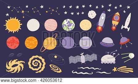 Cute Space Clipart Set, Solar System Planets, Stars, Spaceships, Isolated. Hand Drawn Vector Illustr