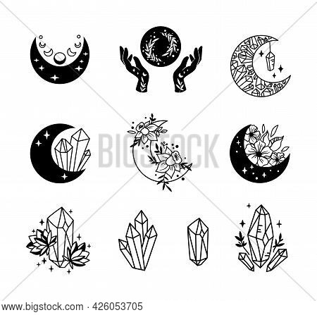 Mystical Boho Floral Moon Isolated Cliparts Bundle, Celestial Collection, Moon And Flowers Set, Magi