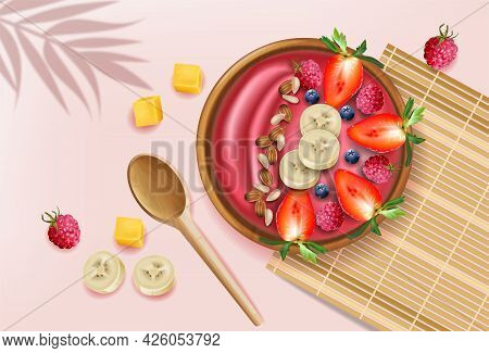 Berry Smoothie Bowl On Pink Background Vector Realistic Mock Ups