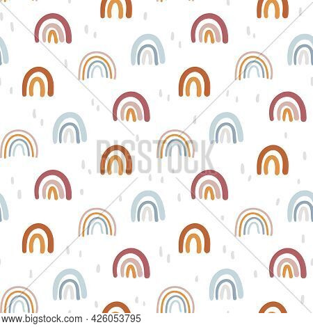 Boho Abstract Rainbow Seamless Pattern Or Digital Paper, Simple Geometric Kids Background In Bohemia