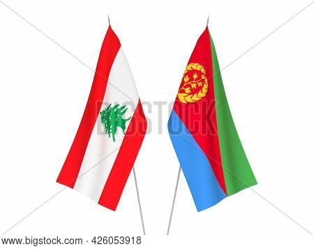 National Fabric Flags Of Lebanon And Eritrea Isolated On White Background. 3d Rendering Illustration