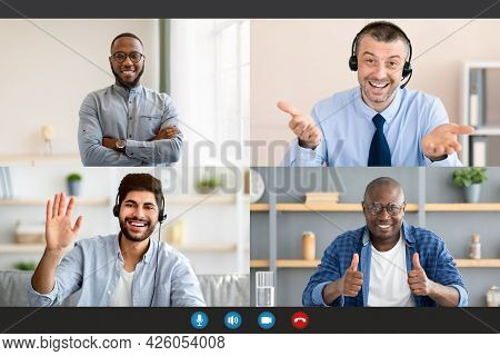 Diverse Business People Making Online Briefing Videochat, Screen View
