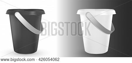 Shovel And Bucket , Set Of Buckets And Dustpan. Colorful Children Toys Isolated On White Background.