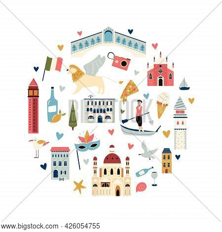 Tourist Abstract Circle Design With Famous Destinations And Landmarks Of Venice.