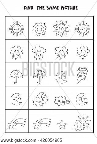 Find The Same Picture Of Black And White Weather Elements. Educational Worksheet For Kids.
