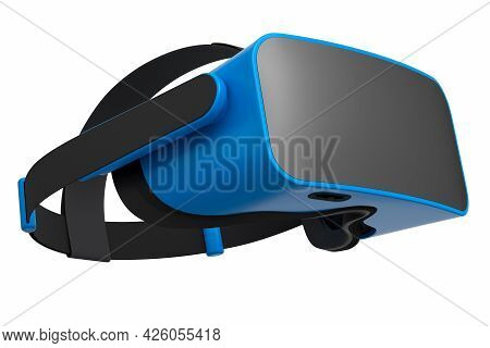 Virtual Blue Reality Glasses Isolated On White Background. 3d Rendering Of Goggles For Virtual Desig