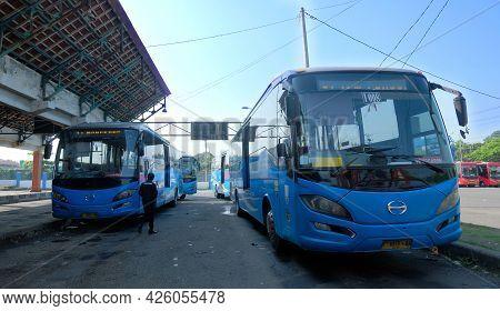 Semarang, Indonesia - 3 July 2021: Bus At The Terminal. Trans Semarang Bus Parked At The Terminal