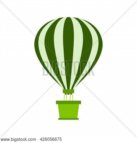 Hot Air Balloon With Basket Is Flying. Striped Balloon Dome. Light Green And Green Stripes. Green Ba