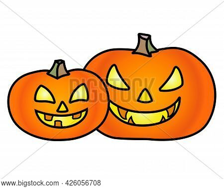 Pumpkins For Halloween - Vector Full Color Illustration. Two Pumpkins With Carved Faces For Hallowee