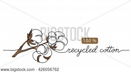 Recycled Cotton Vector Icon, Sign, Illustration, Banner, Poster, Background. One Line Art Drawing Of