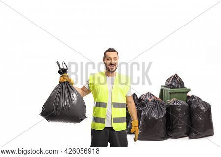 Waste collector holding a black plastic bin bag isolated on white background