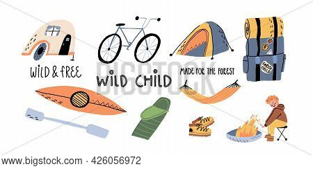 A Bike, Tent, Mobile Camp, Hammock, Backpack With Sleeping Bag, Kayak With Paddle, Guy Is Frying Mar