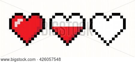 Pixel Heart  Life Bar Isolated On White Background. Gaming Concept. Art 8  Bit Design. Vector Stock