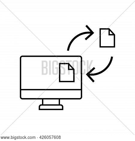 Document Network Flow. Electronic Documentation Concept. Single Black Linear Icon. Vector Isolated O