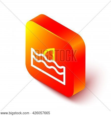 Isometric Line Shark Fin In Ocean Wave Icon Isolated On White Background. Orange Square Button. Vect