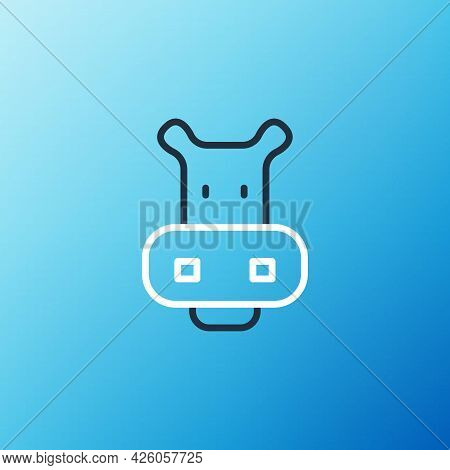 Line Hippo Or Hippopotamus Icon Isolated On Blue Background. Animal Symbol. Colorful Outline Concept