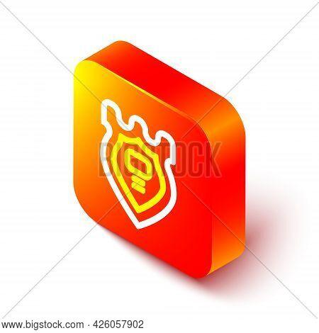 Isometric Line Police Badge Icon Isolated On White Background. Sheriff Badge Sign. Orange Square But