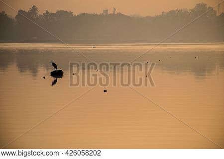 Stock Photo Of Beautiful Clam And Peaceful Sunset View Near The Lake , One Crow Perching On Some Obj