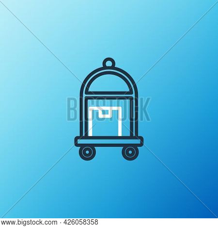 Line Hotel Luggage Cart With Suitcase Icon Isolated On Blue Background. Traveling Baggage Sign. Trav