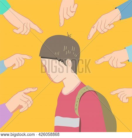 A Schoolboy Boy Suffers From School Bullying. Hands Point A Finger At Him. Conceptual Vector Abstrac
