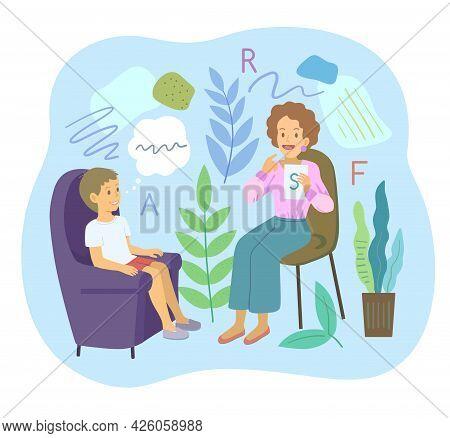 Female Speech Therapist With Preschool Boy Make Logopedic Articulation Exercises. Cartoon Vector Ill