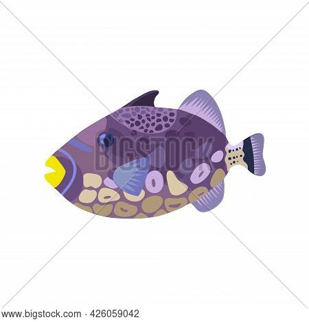 Cartoon Illustrations Of Trigger Clown Fish Isolated On White Background.