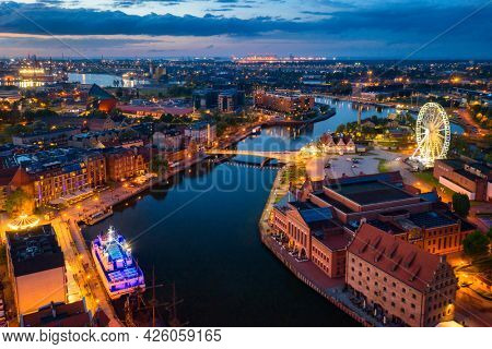 Amazing architecture of the main city in Gdansk at dusk, Poland. Noisy due to high ISO