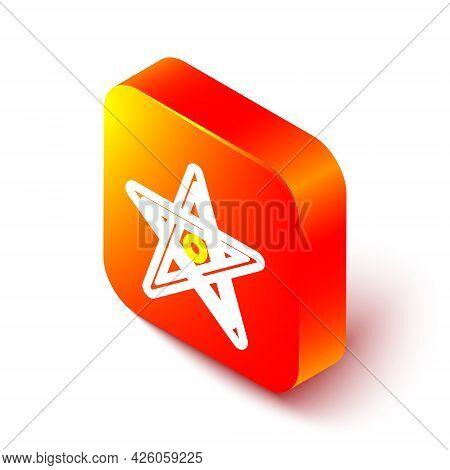 Isometric Line Pentagram Icon Isolated On White Background. Magic Occult Star Symbol. Orange Square