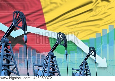 Guinea-bissau Oil Industry Concept, Industrial Illustration - Lowering Down Chart On Guinea-bissau F