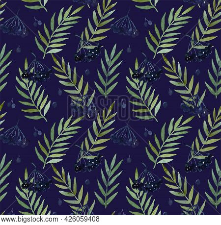 Seamless Pattern With Watercolor Paintied Elder Branche, Berries And Leaves For Wrapping Paper And F
