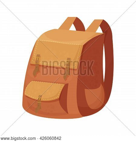 Camping Backpack, Knapsack In Cartoon Style Isolated On White Background. Bag For Activity, Retro Ac