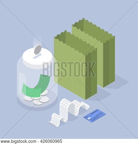 Saving Money Isometric Vector Illustration. Finance Economy For Food Snack Delivery Or Products Buyi