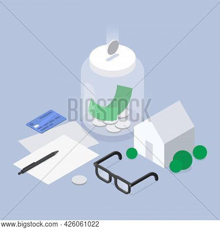 Saving Money For Buying House Isometric Vector Illustration. Financial Economy For Mortgage Deal, Re