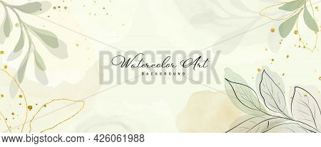 Abstract Art Watercolor Green Leaves Botanical And Gold Glitter For Nature Banner Background. Waterc