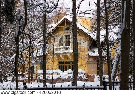 Yellow Facade Of A Manor House Of The Early 20th Century On A Winter Day, Turliki Estate Dacha Moroz