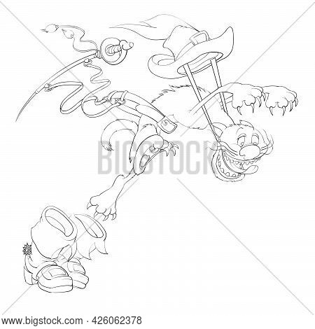 Sketch, A Cat From A Fairy Tale In Boots Hunt For A Mouse, Coloring Book, Cartoon Illustration, Isol