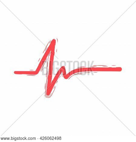 Hand Drawing Heart Cardiogram Line Doodle Icon.