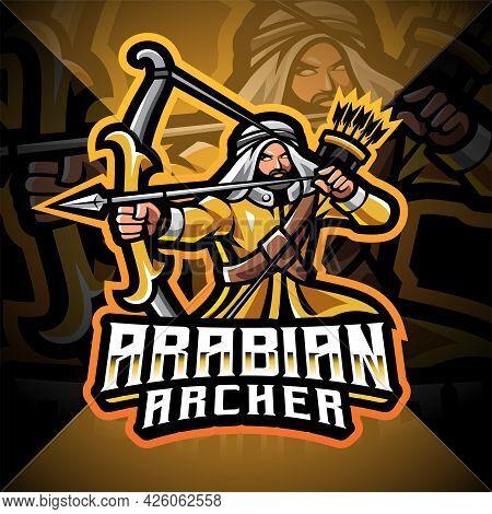 Arabian Archer Esport Mascot Logo With Text