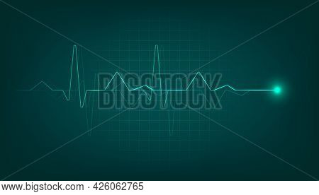 Green Heart Pulse Monitor With Signal. Heart Beat Cardiogram Background.