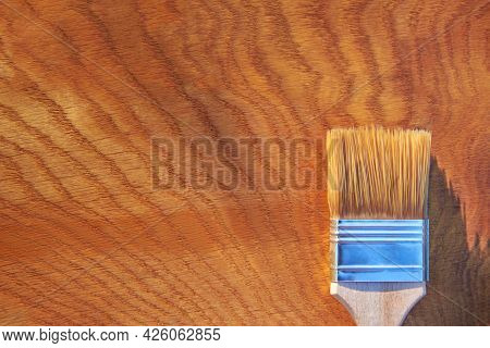 Painting A Wooden Surface With Varnish, A Brush On An Oak Board, Top View, Copy Space.